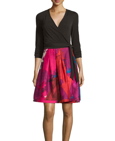DVF Jewel Wrap Dress - black multi