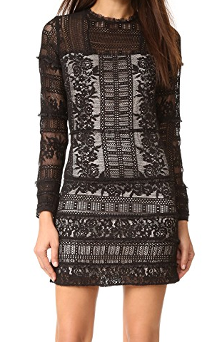 Parker Julie Combo Long Sleeve Lace Dress - black