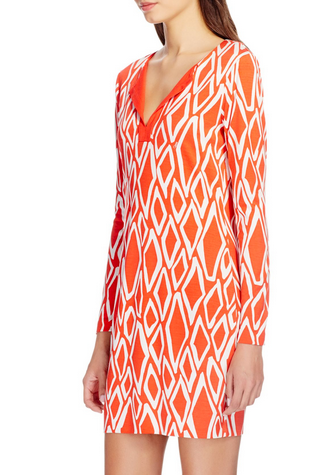 DVF Long Sleeve Reina Dress - coral