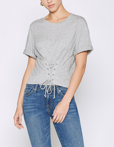 Joie Lizeth Lace Up Tee - heather grey