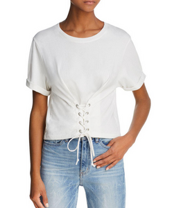 Joie Lizeth Lace Up Tee - white