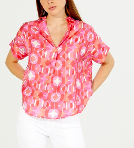 Vilagallo Monica Print Top - pink multi