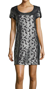 Laundry Novelty Sequin Knit Dress - charcoal