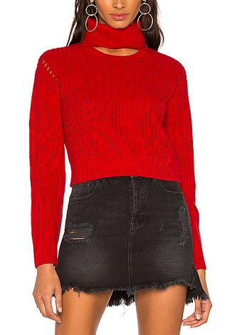 Kendall & Kylie Open Neck Crew - red