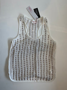 Parker Pearl Beaded Top - white