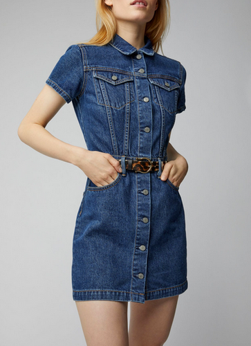 Grlfrnd Max Mini Dress with sleeves - denim