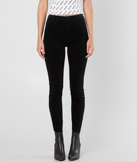 Kendall & Kylie Pin Up Velvet Pant - black