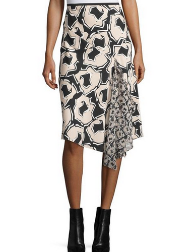 DVF Posey Printed Skirt - black multi