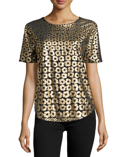 Equipment Riley Printed Tee - gold
