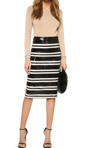Alice & Olivia Rue Sequin Pencil Skirt - black/cream
