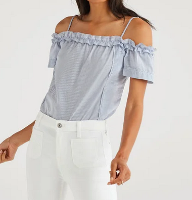 7 For All Mankind Ruffle Short Sleeve Top - blue/white