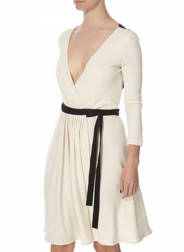 DVF Seduction Wool Wrap Dress - ivory/black