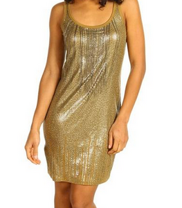 Michael Kors Sequin Tank Dress with Chains - amber