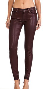 7 For All Mankind Skinny Coated Jean - garnet red