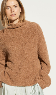 Vince Teddy Funnel Neck Sweater - camel