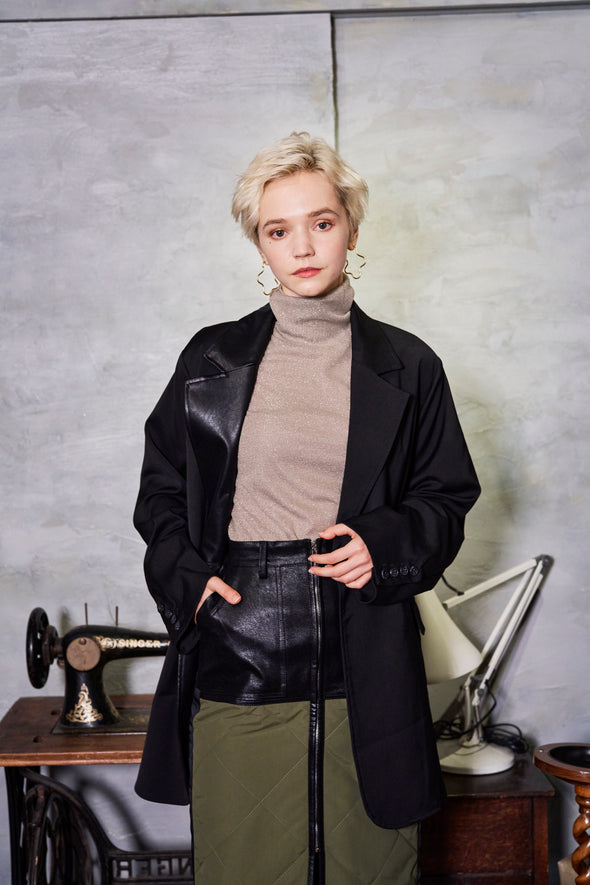 ECO LEATHER COLLAR BACK BELT JACKET
