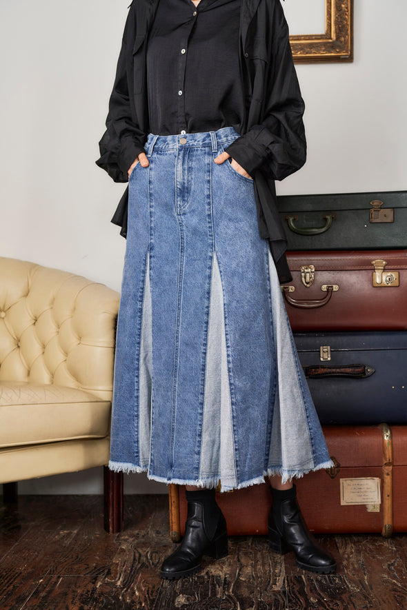 BLOCKING DENIM SKIRT