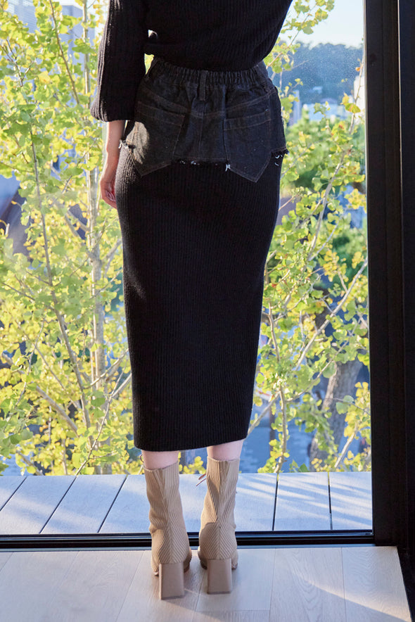 DENIM DOCKING RIB KNIT SKIRT