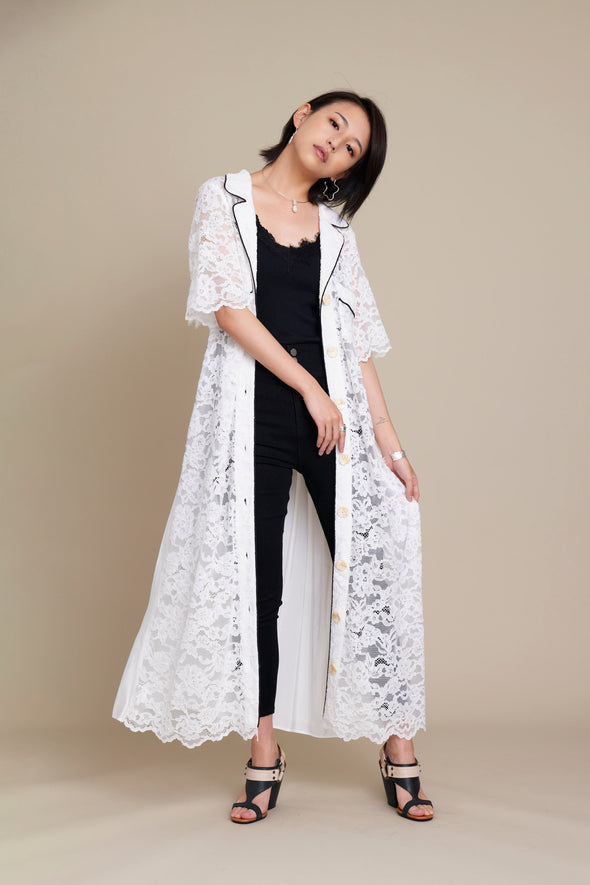 PIPING LACE LONG  CARDIGAN