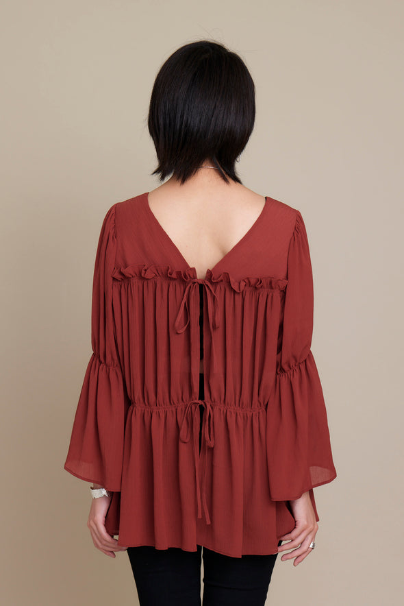 FRONT RIBBON 3WAY BLOUSE