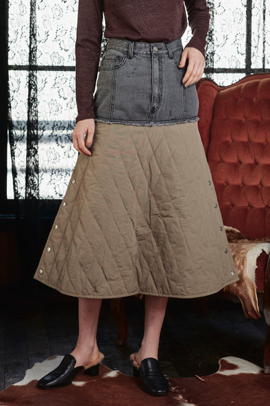 DENIMxQUILTING SKIRT