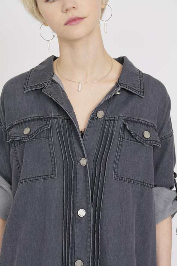 BACK PLEATS DENIM SHIRT DRESS