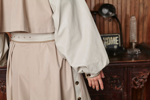 □■先行予約■□ ECO LEATHER SLEEVE TRENCH