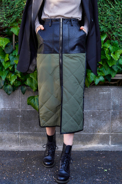 ECO LETHERxQUILTING SKIRT