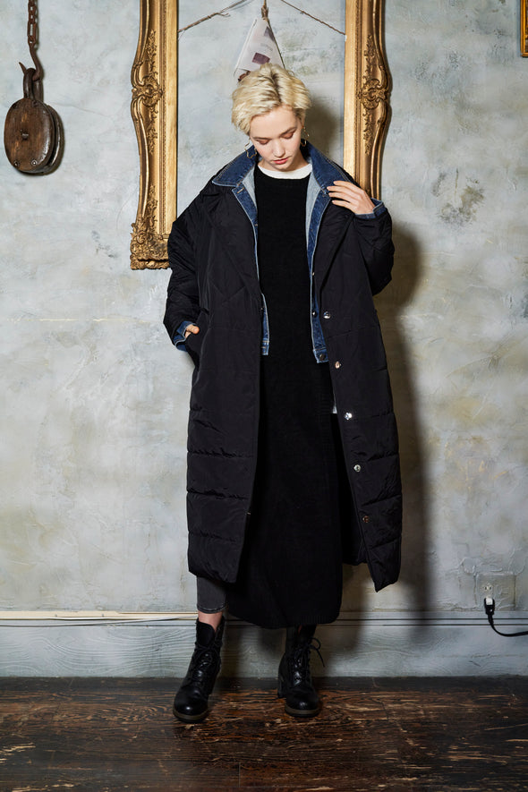 PIPING LAYERED QUILTING  COAT