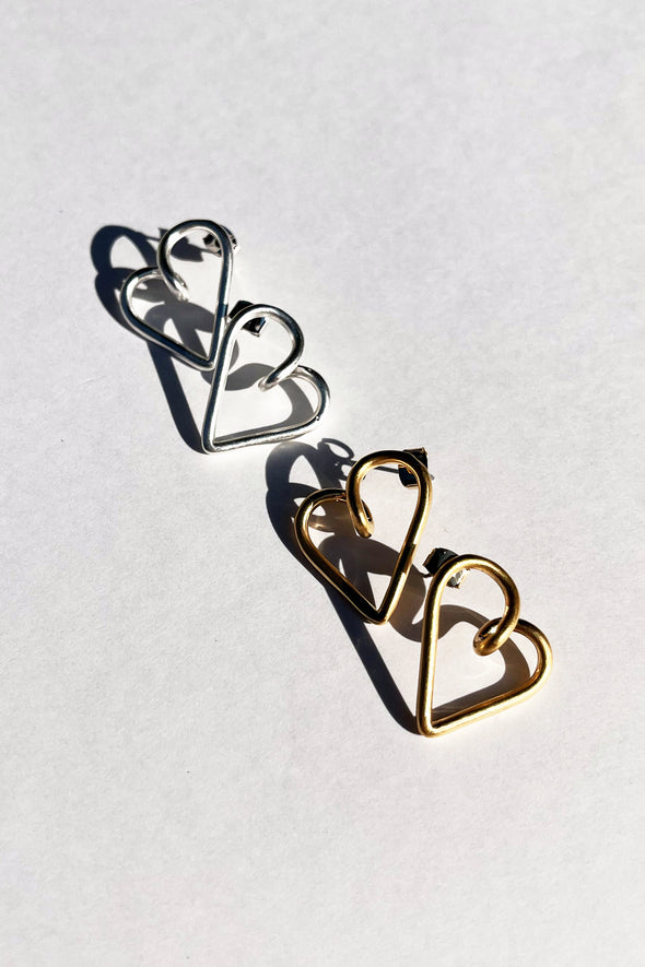 WIRE HEART PIEECED EARRINGS