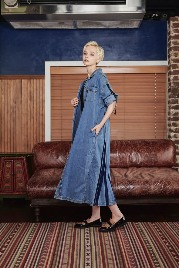 BACK PLEATS DENIM SHIRTS DRESS