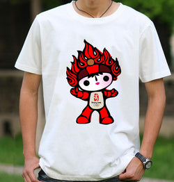 Beijing 2008 Olympic Games Emblem Mascot 100% Cotton T-shirt Short Sleeved Summer Tees