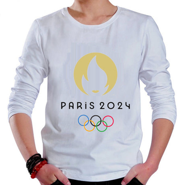 Paris 2024 Olympic Games Emblem Long Sleeve T-shirt Tee 100% Cotton