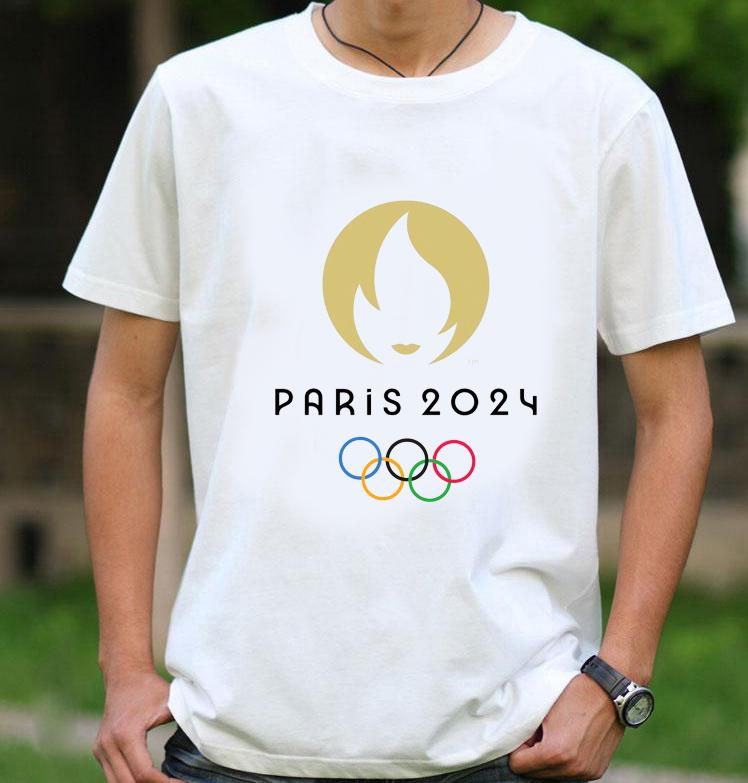 Paris 2024 Olympic Games Emblem 100% Cotton T-shirt Short Sleeved Summer Tees