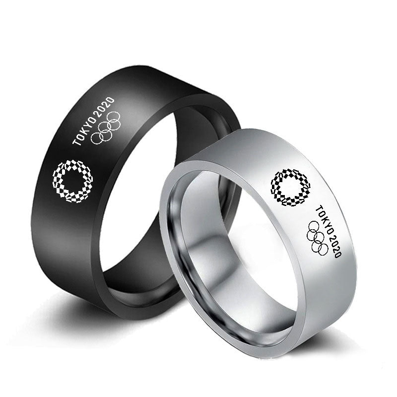 Tokyo 2020 Olympic Games Ring Fashion Stainless Steel Titanium Band Ring Black Silver Size 6-13