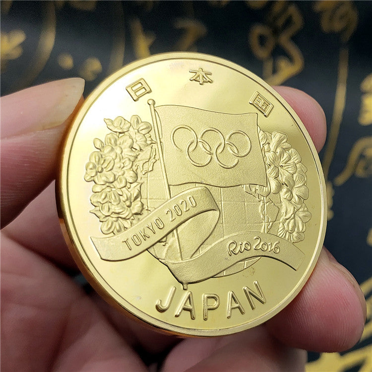 Tokyo 2020 Olympic Games And Rio 2016 Handover Flag Gold Coin