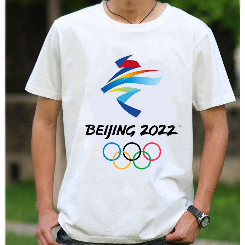 Beijing 2022 Winter Olympic Games Emblem Mascot T-shirt Short Sleeve Tee