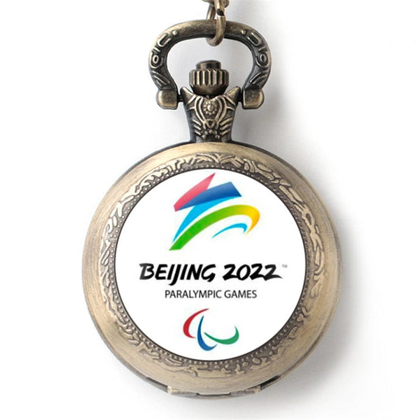 Beijing 2022 Winter Olympic Games Emblem Mascot Pocket Watch Vintage Quartz Watches