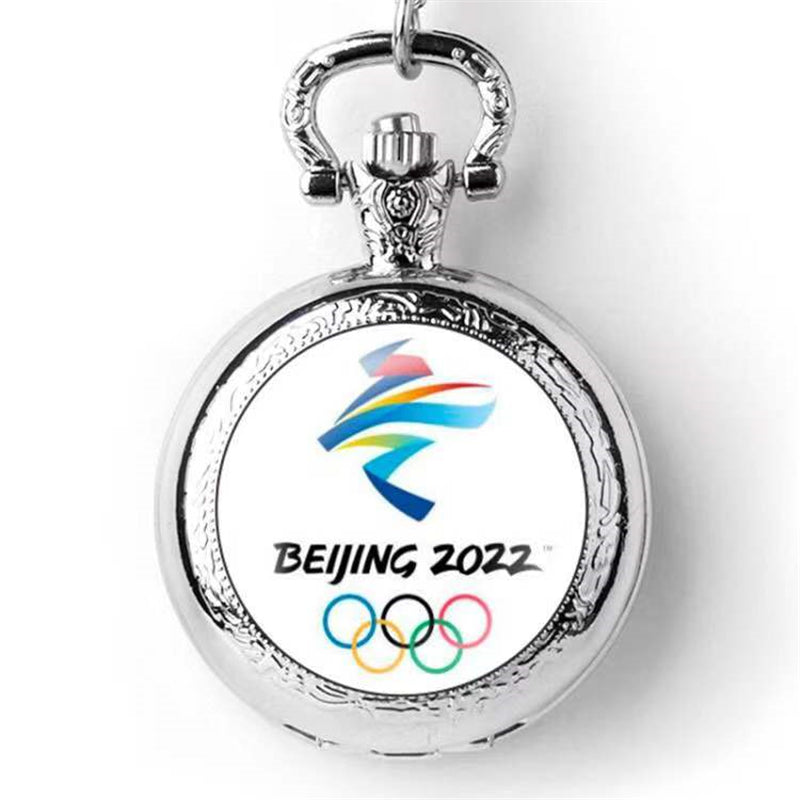 Beijing 2022 Winter Olympic Games Emblem Mascot Pocket Watch Silver Quartz Watches