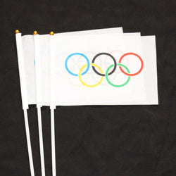 20 Pcs Olympics Rings Hand Waving Flag International World Banner With Stick