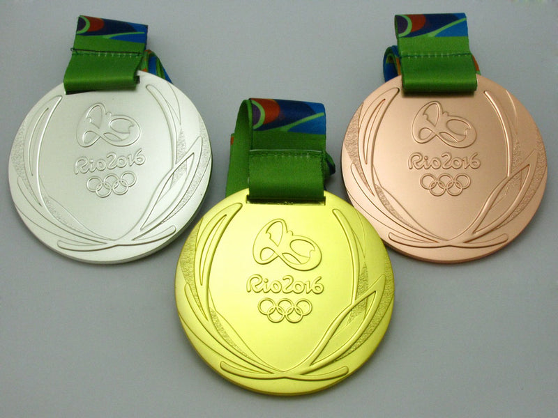 Rio 2016 Olympic Medals Gold Silver Bronze With Ribbons 1:1 Full Size