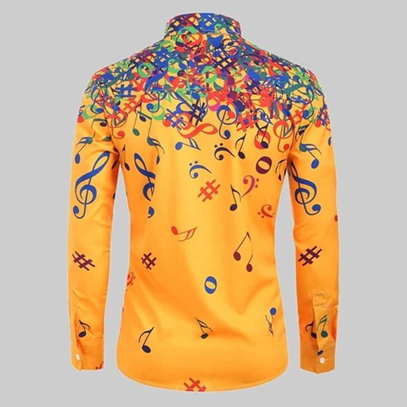 Colorful Music Notes Men's Shirt