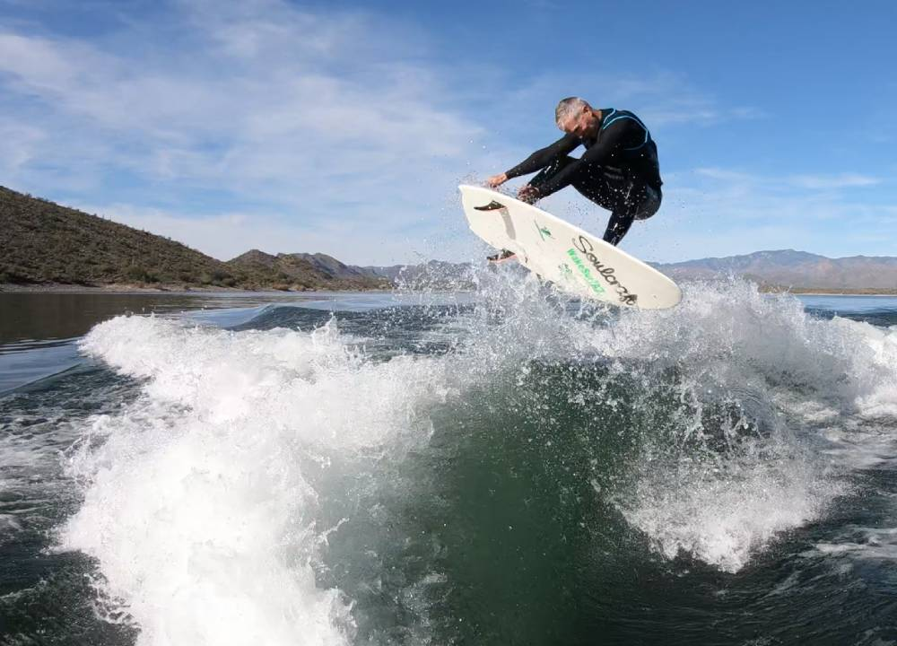 Mike Viland surfing