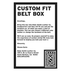 CUSTOM FIT BELT BOX INSTRUCTIONS - Placed in box