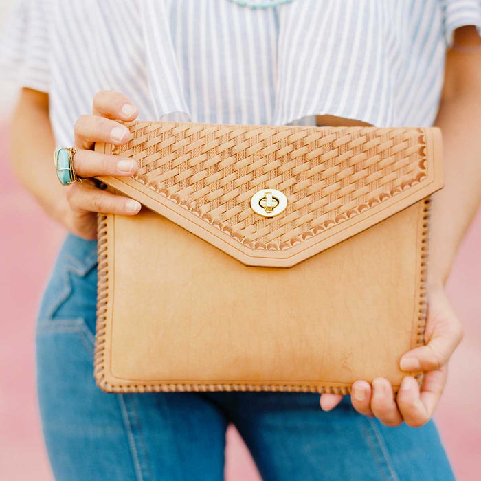 Leather Carry Clutch with Hand-tooled pattern