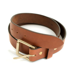 Classic Leather Belt - Brass Hardware