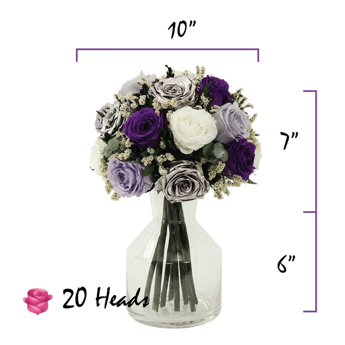 Lavender and Deep Purple Roses Centerpiece Bouquet | Preserved Large Roses - Milena Bouquet