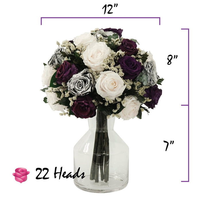 Deep Purple Plum Rose and Light Pink Roses Centerpiece Bouquet | Preserved Large Roses - Milena Bouquet
