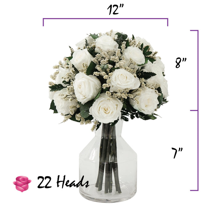 White Roses Centerpiece Bouquet | Preserved Large Roses - Milena Bouquet