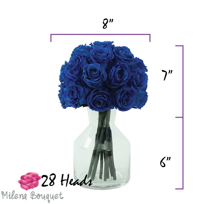 Eternal Blue Roses Bouquet | Preserved Large Roses - Milena Bouquet